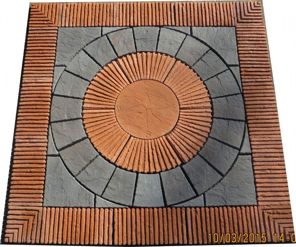 2400mm Rotunda Greek Key Plus Terracotta Tile Inset And Surround.